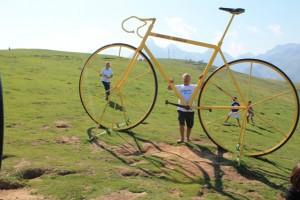 Avec le vélo jaune dans le col de l'Aubisque dans les Pyrénées (1)