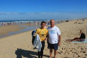 Lacanau en Gironde avec un des meilleurs surfers pro brésilien GOUVEIA