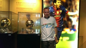 Avec les ballons d'or de Lionel Messi (Barcelone, Espagne)