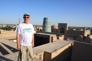 Sur le mirador de Koukhna Ark, la résidence du khan de Khivaen Ouzbékistan